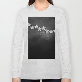Spectacular silver flowers on black grunge texture Long Sleeve T-shirt