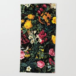Floral and Birds Pattern Beach Towel