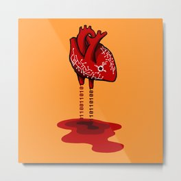 Binary Heart Metal Print