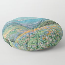 Malibu Coast, California with wild poppies floral seascape painting by Granville Redmond Floor Pillow