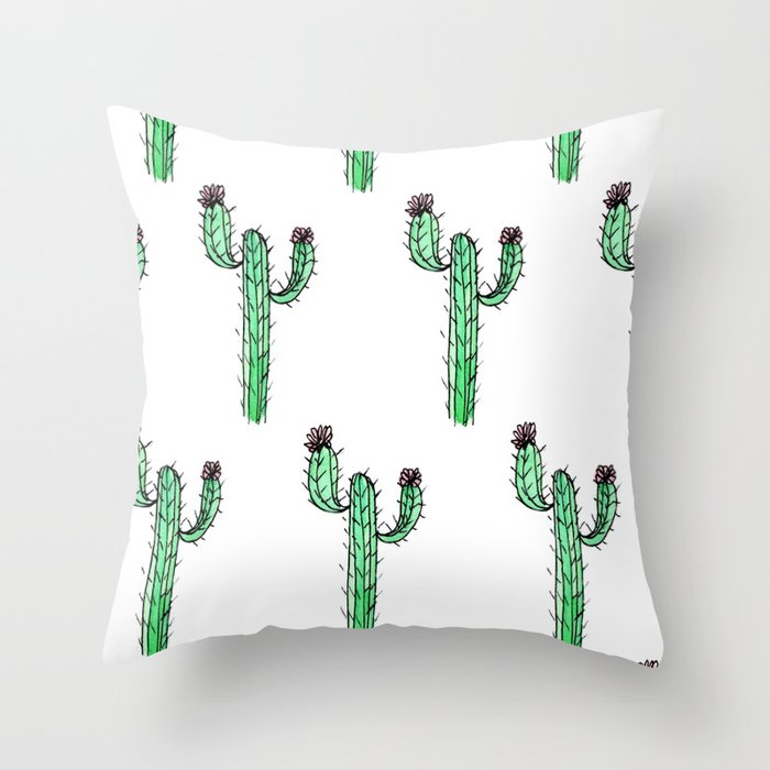 Cactus Flower II Pattern Throw Pillow