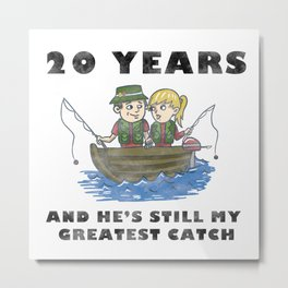 Anniversary 20 Couple Fishing Wife Husband Gift Metal Print