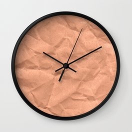 Kraft paper. crumpled paper Wall Clock