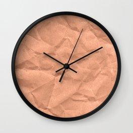 Kraft paper. crumpled paper Wall Clock