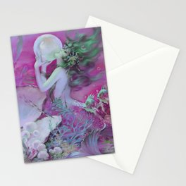 Mermaid With Pearl : Henry Clive Fuchsia Pink Seafoam Stationery Cards