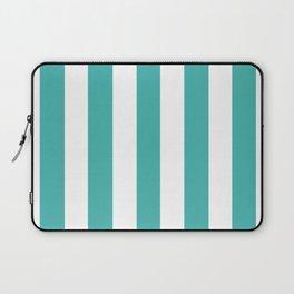 Verdigris blue - solid color - white vertical lines pattern Laptop Sleeve