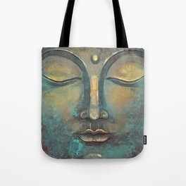 Rusty Golden Copper Buddha Face Watercolor Painting Tote Bag