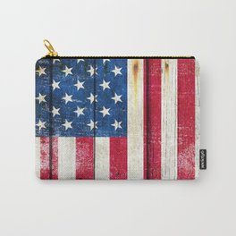 Vintage American Flag On Old Barn Wood Carry-All Pouch