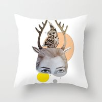 logo Throw Pillows featuring Logo by Amy Bannister