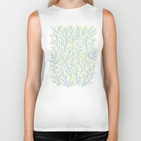 lime Biker Tanks featuring Berry Branches - Lime & Blue by Cat Coquillette