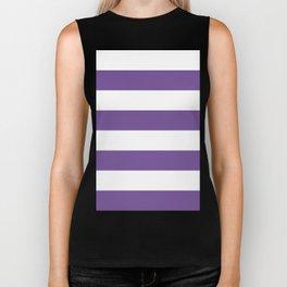 Wide Horizontal Stripes - White and Dark Lavender Violet Biker Tank