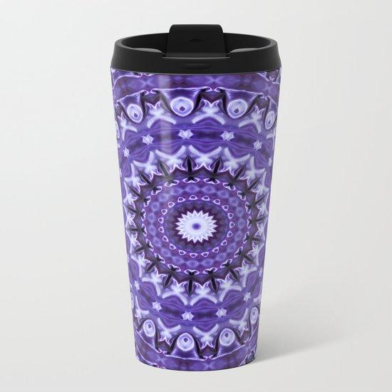 Kaleidoscope Purple Silk Metal Travel Mug