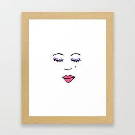 Style Girl - Face - Doodle Art - Pink Framed Art Print