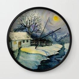 Winter, watercolor Wall Clock