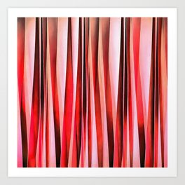 Red Adventure Striped Abstract Pattern Art Print