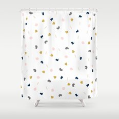 Modern pastel pink navy blue gold glitter confetti Shower Curtain