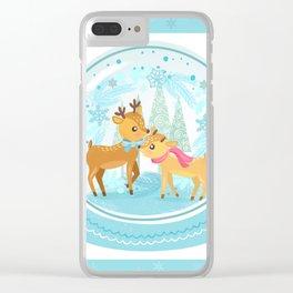 Winter Wonderland Reindeer Snow Globe Clear iPhone Case