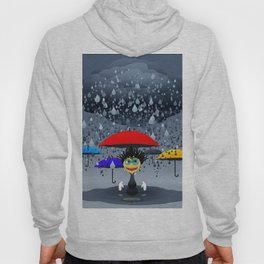 Cartoony character under raining cloud with umbrellas Hoody