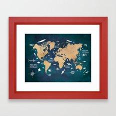 World Map Oceans Life blue Framed Art Print
