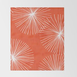 Dandelions in Red by Friztin Throw Blanket