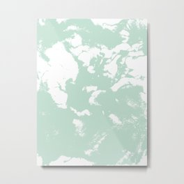 Marble mint 1 Suminagashi watercolor pattern art pisces water wave ocean minimal design Metal Print