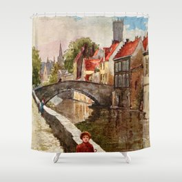 Vintage retro style Bruges travel advertising Shower Curtain
