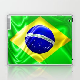 Brazil Flag Waving Silk Fabric Laptop & iPad Skin