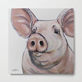 Pig Art, Cute Pig Art from original painting Metal Print