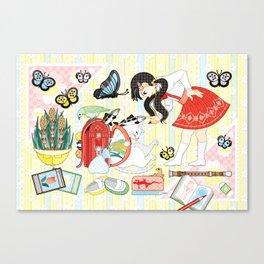 "April illustration ""Cat and school bag"" (remake) Canvas Print"