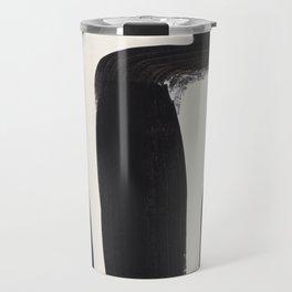 Mid Century Modern Minimalist Abstract Art Brush Strokes Black & White Ink Art Ancient Stripes Travel Mug