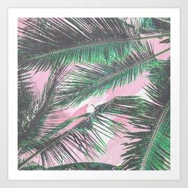 Summer Palm Leaves Pink Watercolor Brushstrokes Art Print
