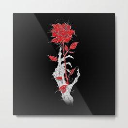 Rosa negra Fondo rojo esqueleto mano esqueleto ilustración arte diseño joik Metal Print