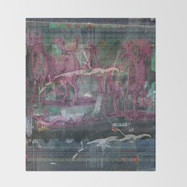 Glitch Zoo Chaos Throw Blanket