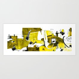 Track and field in yellow Art Print