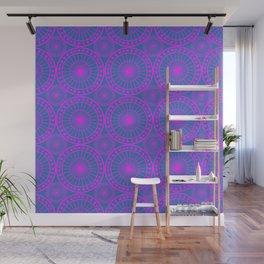 Fuchsia & Blue Spoked Wheel Pattern Wall Mural