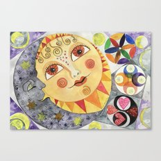 Sun, Moon and Stars Watercolor Canvas Print