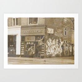 Vintage bookshop Art Print