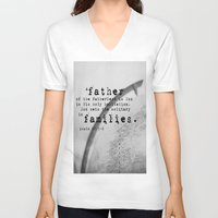 scripture V-neck T-shirts featuring Adoption Scripture Art Psalm 68:5-6 by KimberosePhotography