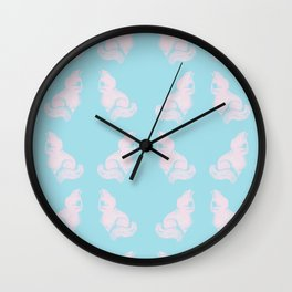 Grapefruit Cat - Lighten on Blue Wall Clock