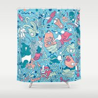 bubble Shower Curtains featuring bubble by Anukun Hamala (NHD)