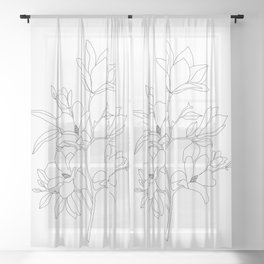 Minimal Line Art Magnolia Flowers Sheer Curtain