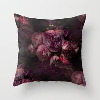 peony Throw Pillows featuring peony by MINTSENSEART