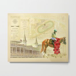 Artistic Kentucky Derby [vintage inspired] Map print Metal Print