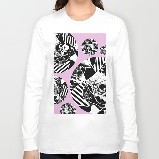 Black And White Bubbles 2 - Multi patterned, multi textured stripes, paint splats and marble on pink Long Sleeve T-shirt