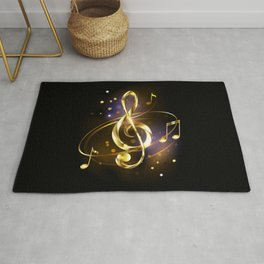 Golden Musical Key Rug