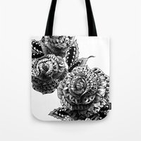 bioworkz Tote Bags featuring Four Roses by BIOWORKZ