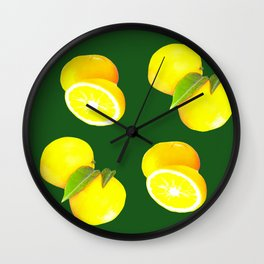 Juicy lemons on the dark green background - seamless pattern Wall Clock