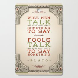Plato regarding talking Cutting Board