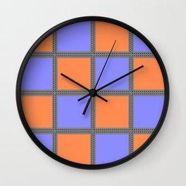 Quilt Square Stitch Style - Purple Orange Wall Clock