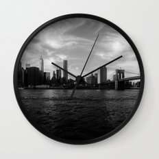 New York Skyline - Black & White Wall Clock